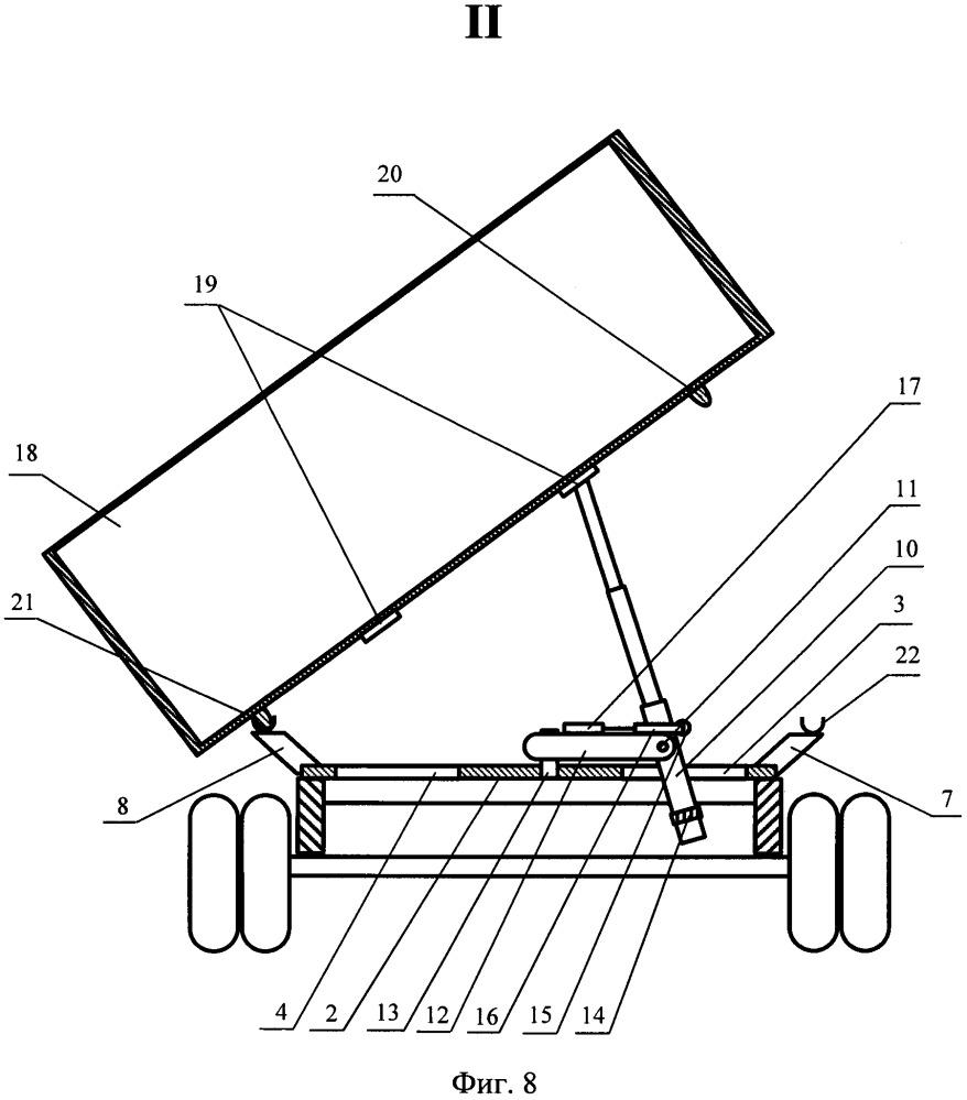 Самосвал с поворотной конструкцией подъёмного механизма для опрокидывания кузова на левый, правый и задний борта