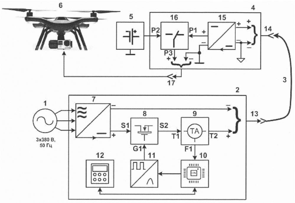 Устройство для электропитания привязного летательного аппарата