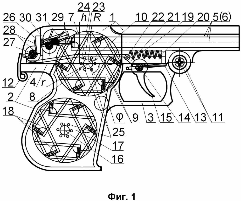 Дисковый револьвер с откидным корпусом