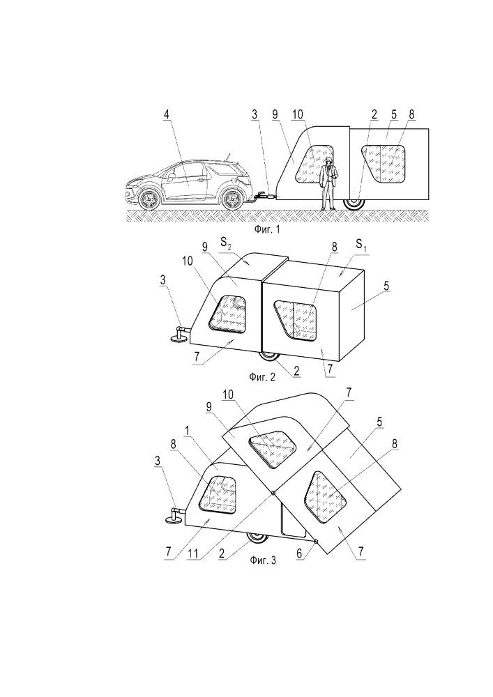Жилой автомобильный прицеп изменяемого объема