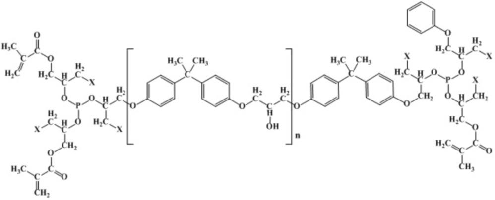 Применение олигоэфиракрилата ((((1-галоген-3- (4- (2- (4- (3- (4- (2- (4- (3-галоген-2 - (((( 1-галоген-3- (метакрилоилокси))) пропан-2-ил) окси) ((1-галоген-3-феноксипропан-2-ил) окси) фосфино) окси) пропокси) фенил) пропан-2-ил) фенокси) -2-гидроксипропокси) фенил) пропан - 2-ил) фенокси) пропан-2-ил) окси) фосфиндиил) бис (окси)) бис (3-галогенпропан-2,1-диил) бис (2-метилакрилата) в качестве мономера для получения термо- и теплостойких полимеров с пониженной горючестью