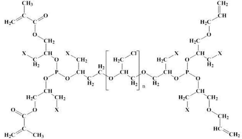 Применение олигоэфиракрилата ((((4 - ((1- (2 - ((бис ((1- (аллилокси) -3-галогенпропан-2-ил)окси)фосфин)окси)-3-галоген-пропокси) -3-хлорпропан-2-ил) окси) -1-галогенбутан-2-ил) окси) фосфиндиил) бис (окси)) бис (3-галогенпропан-2,1-диил) бис (2-метилакрилата) в качестве мономера для получения термо- и теплостойких полимеров с пониженной горючестью