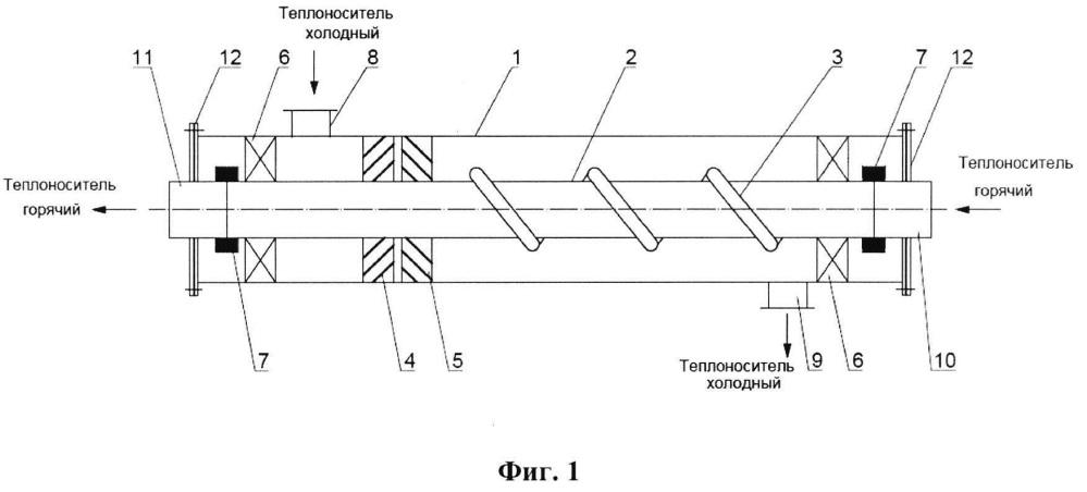 Теплообменник типа труба в трубе с вращающейся теплообменной поверхностью