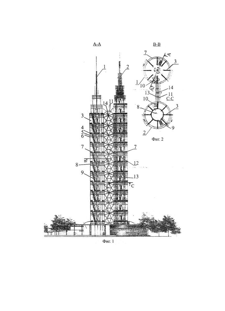 Сооружение башенного типа для установки ветроэлектрогенераторов