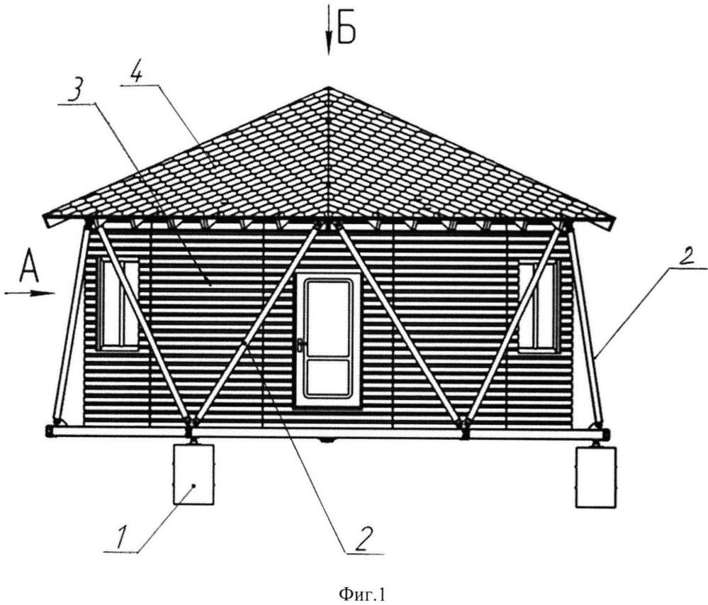 Наружный несущий каркас здания на трех опорах