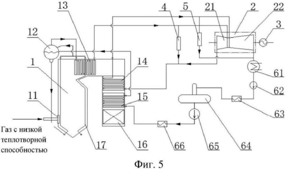 Способ и система выработки электроэнергии из газа с низкой теплотворной способностью