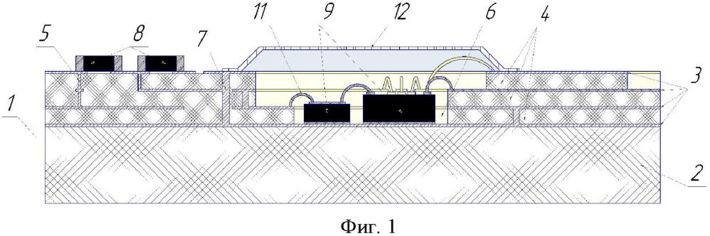 Устройство экранирования электронных узлов многослойной свч платы от электромагнитного излучения