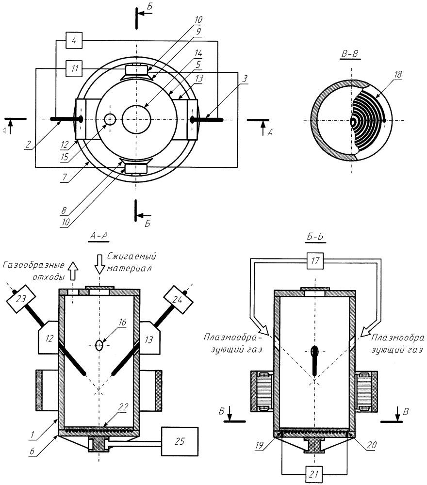 Электродуговой плазмотрон для сжигания твердых отходов