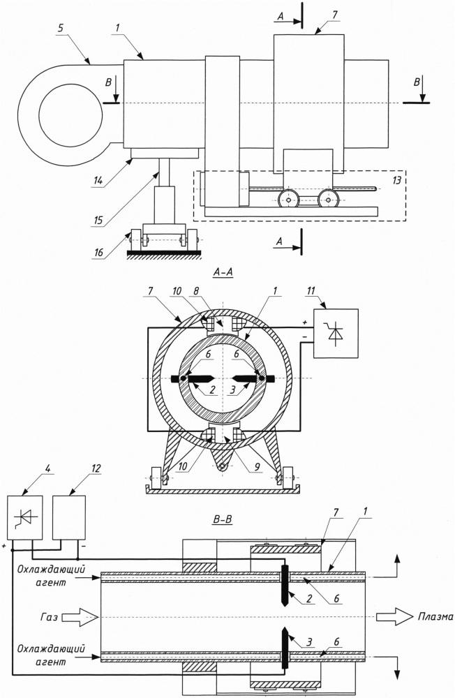 Электродуговой плазмотрон для обработки плоских поверхностей деталей