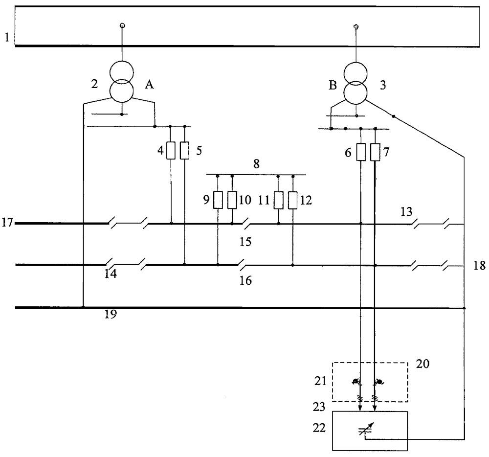 Устройство ограничения уравнительного тока контактной сети переменного тока