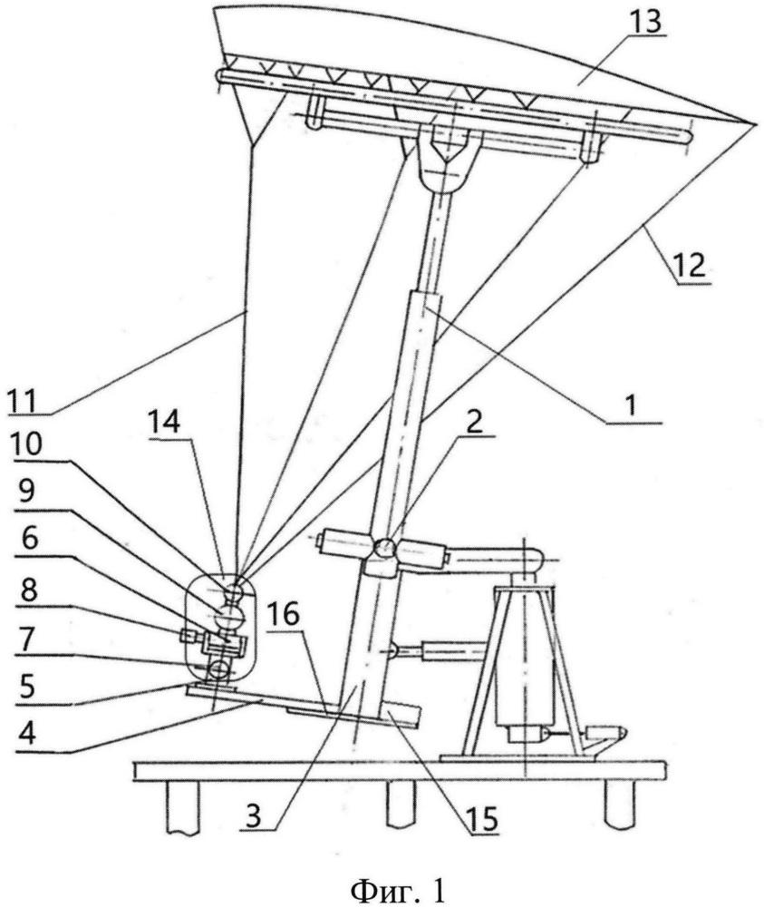 Устройство для определения аэродинамических характеристик планирующего парашюта в аэродинамической трубе