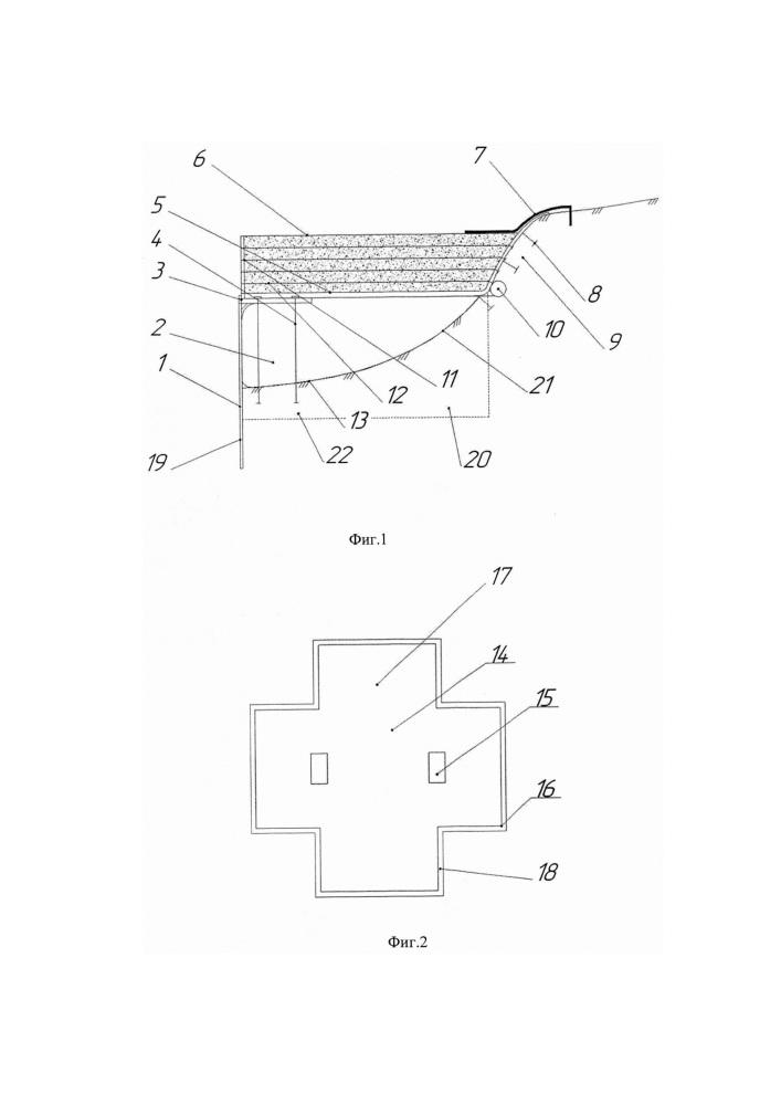 Берегозащитное грунтоармированное сооружение в условиях слабых грунтов на наполняемом основании и способ его возведения