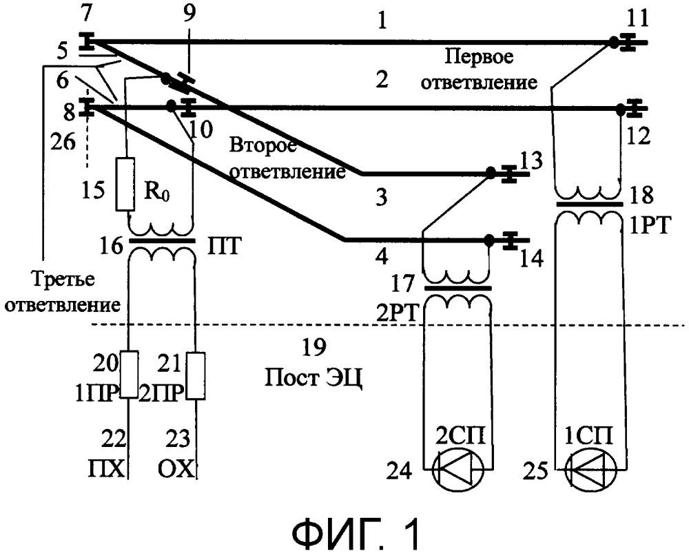 Устройство контроля состояний разветвленной рельсовой линии