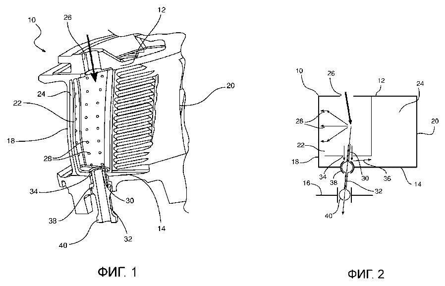 Лопатка, оснащенная системой охлаждения, соответствующие направляющий сопловой аппарат и газотурбинный двигатель
