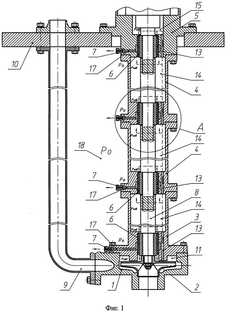 Полупогружной насос с валопроводом на подшипниках скольжения