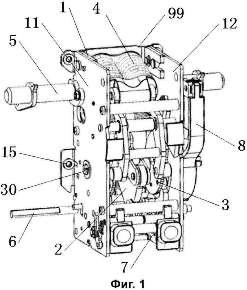 Конструкция крепления узла накопителя энергии для выключателя