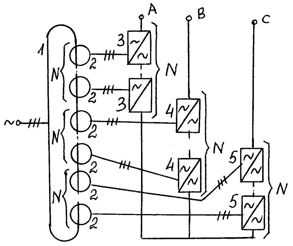 Многоблочный трехфазный частотный преобразователь