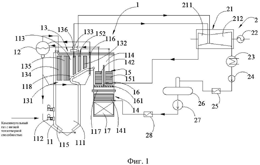 Система выработки электроэнергии и способ выработки электроэнергии из каменноугольного газа с низкой теплотворной способностью