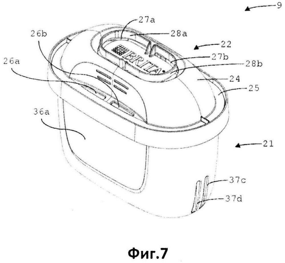 Картридж для обработки жидкости, система для обработки жидкости и способ установки картриджа в посадочном гнезде для картриджа