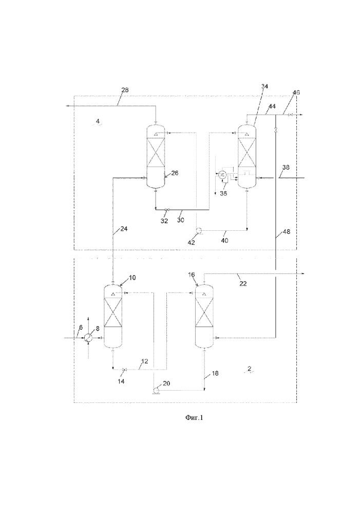 Гибридный способ и установка для выборочного поглощения газов из газовой смеси