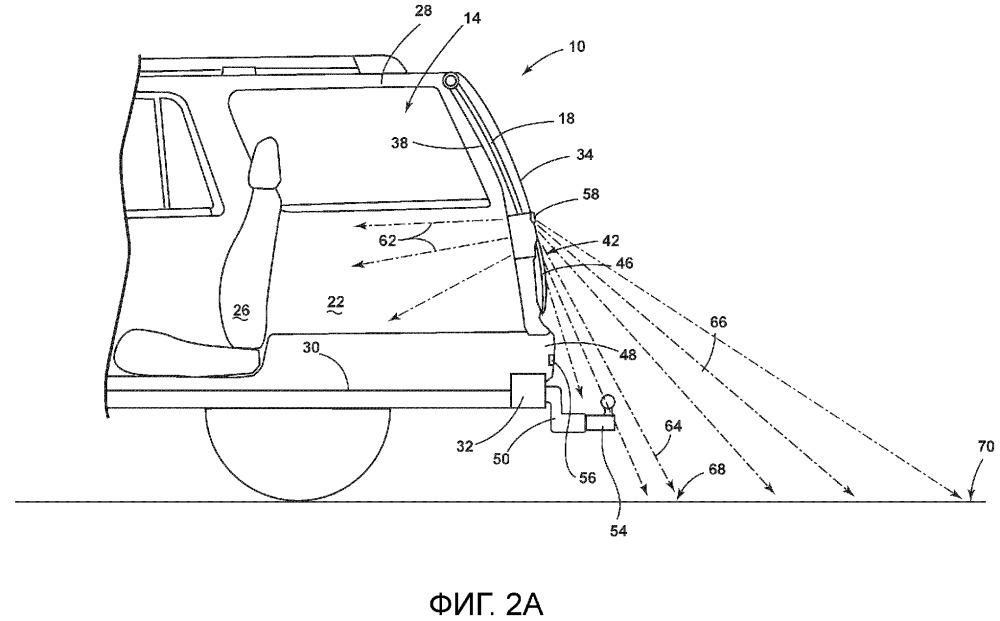 Транспортное средство, имеющее внутреннее и внешнее освещение на задней двери