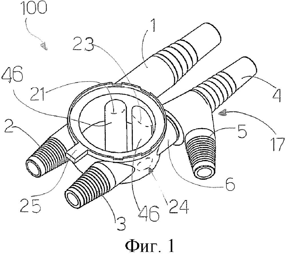 Устройство для переключения потока текучей среды для катетеризации при помощи трехходового мочевого катетера