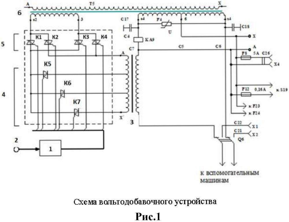 Устройство стабилизации напряжения в системе питания асинхронных вспомогательных машин электровозов переменного тока