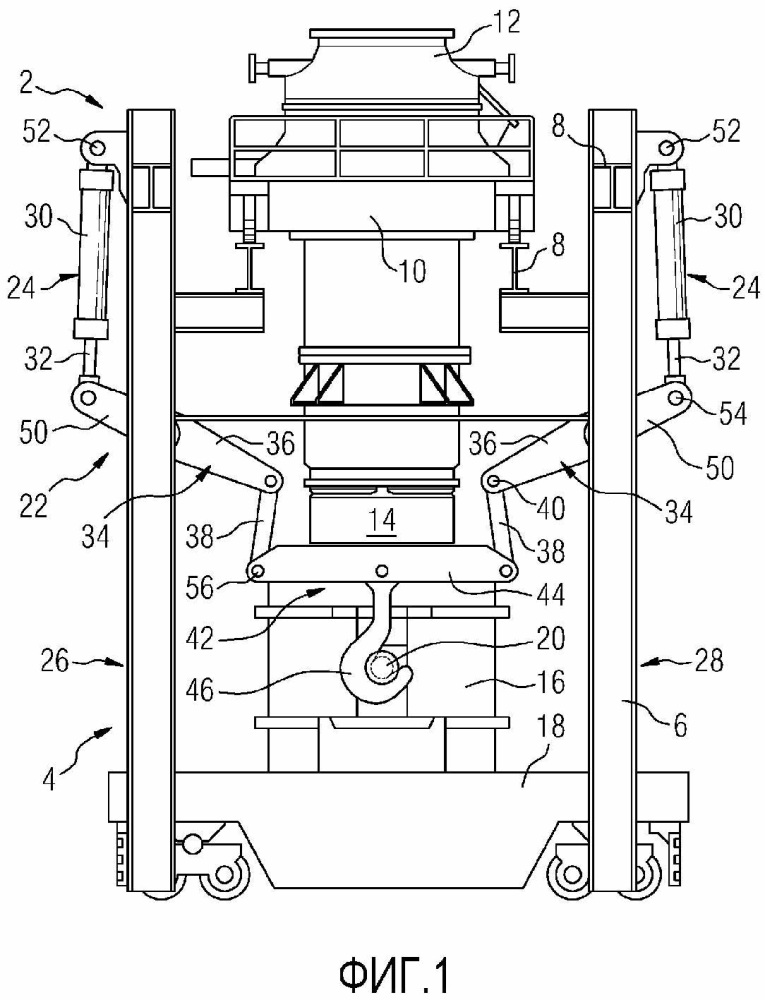 Устройство подъема ковша и способ вертикального перемещения ковша ванны жидкого металла
