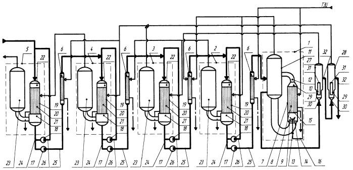 Технологическая схема трехкорпусной выпарной установки