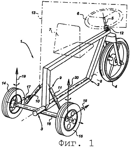 Транспортное средство с изменяемым углом наклона, выполненное с управляемыми задними колесами