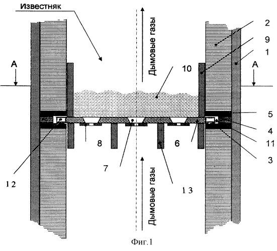 Газораспределительное устройство многозонной печи кипящего слоя для обжига известняка