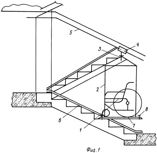Устройство транспортировки инвалидного кресла-коляски по лестничным переходам