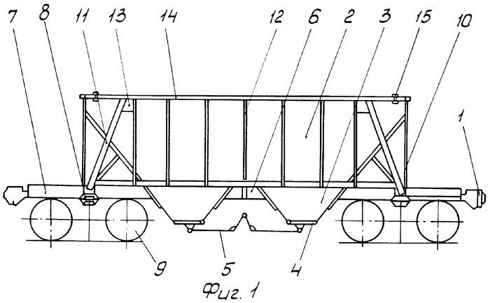 Четырехосный цельнометаллический открытый хоппер и способ его изготовления из крытого хоппера