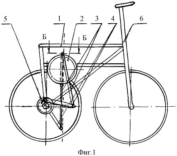 Велосипед компактный с возвратно-поступательным перемещением педалей