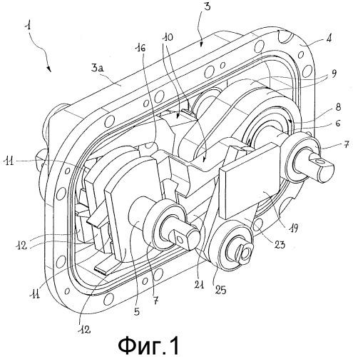 Коробка передач, в частности, для систем передач в устройствах для дозирования гранулированных материалов