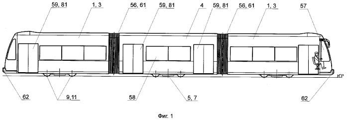 Рельсовое транспортное средство типа трамвайного вагона с пониженным уровнем пола, моторного вагона электропоезда или локомотива на электрической тяге и трамвайный вагон