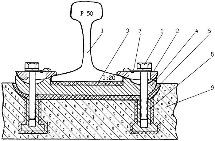 Нераздельное рельсовое скрепление для пути на железобетонном основании конструкции камышникова