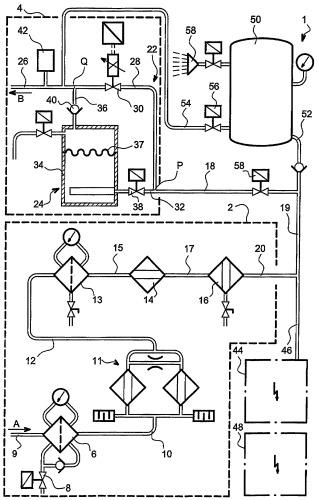 Способ и установка для производства пригодного для дыхания воздуха