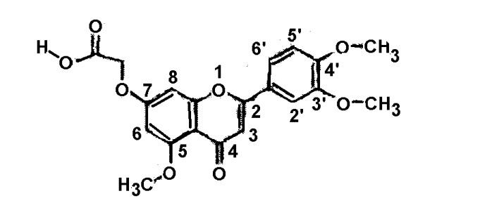 Моногидрат 7-карбоксиметилокси-3',4' 5-триметоксифлавона, способ его получения и применения