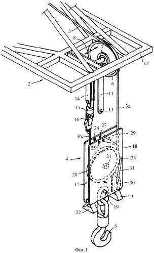 Устройство подвески грузового блока крана