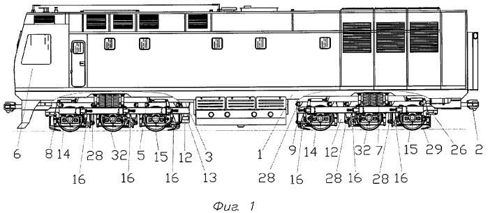 Железнодорожное тяговое транспортное средство с трехосными тележками (варианты)