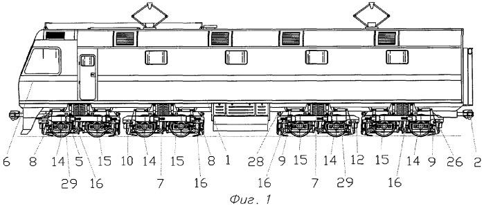 Железнодорожное тяговое транспортное средство с двухосными тележками (варианты)