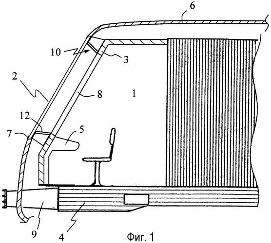 Устройство для предотвращения проникновения ветрового стекла в кабину рельсового транспортного средства при столкновении и рельсовое транспортное средство
