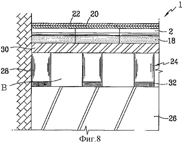Система отопления плавающей структуры, включающая панель отопления, имеющую круглый или эллиптический внутренний канал для жидкости