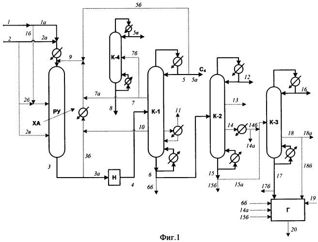 Способ переработки изобутенсодержащей углеводородной смеси и спирта c1 или c2