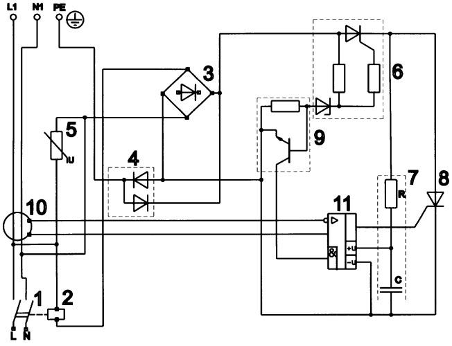 Устройство защитного отключения электроустановок с синхронизатором фазы отключения
