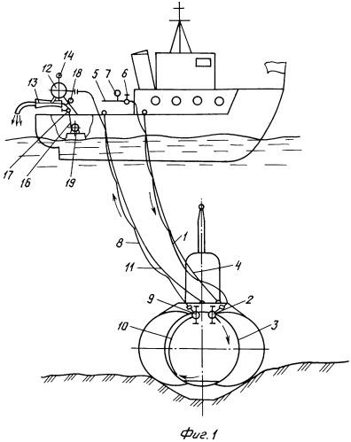 Устройство вентиляции отсеков аварийной подводной лодки, лежащей на грунте