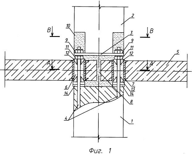Стыковое соединение сборных колонн с перекрытием и способ его выполнения