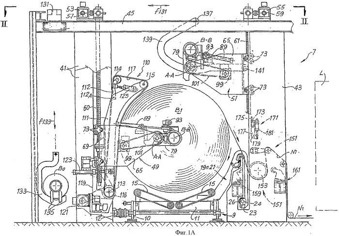 Разматывающее устройство для катушек материала в виде ленты, имеющее накопительные элементы временного действия для материала, разматываемого в фазе замены катушек, и соответствующий способ