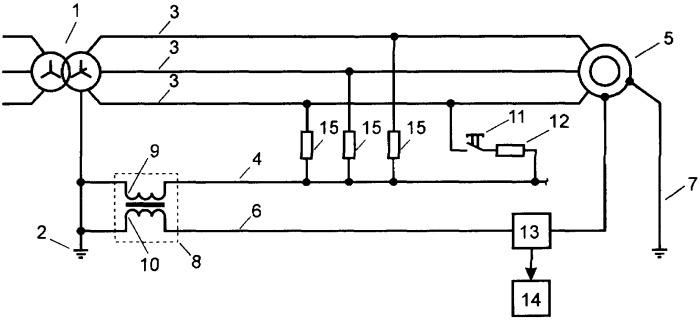 Устройство контроля непрерывности нулевых проводников в линиях 0,38 кв